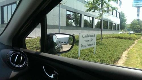 Uitsluitend vooruit inparkeren